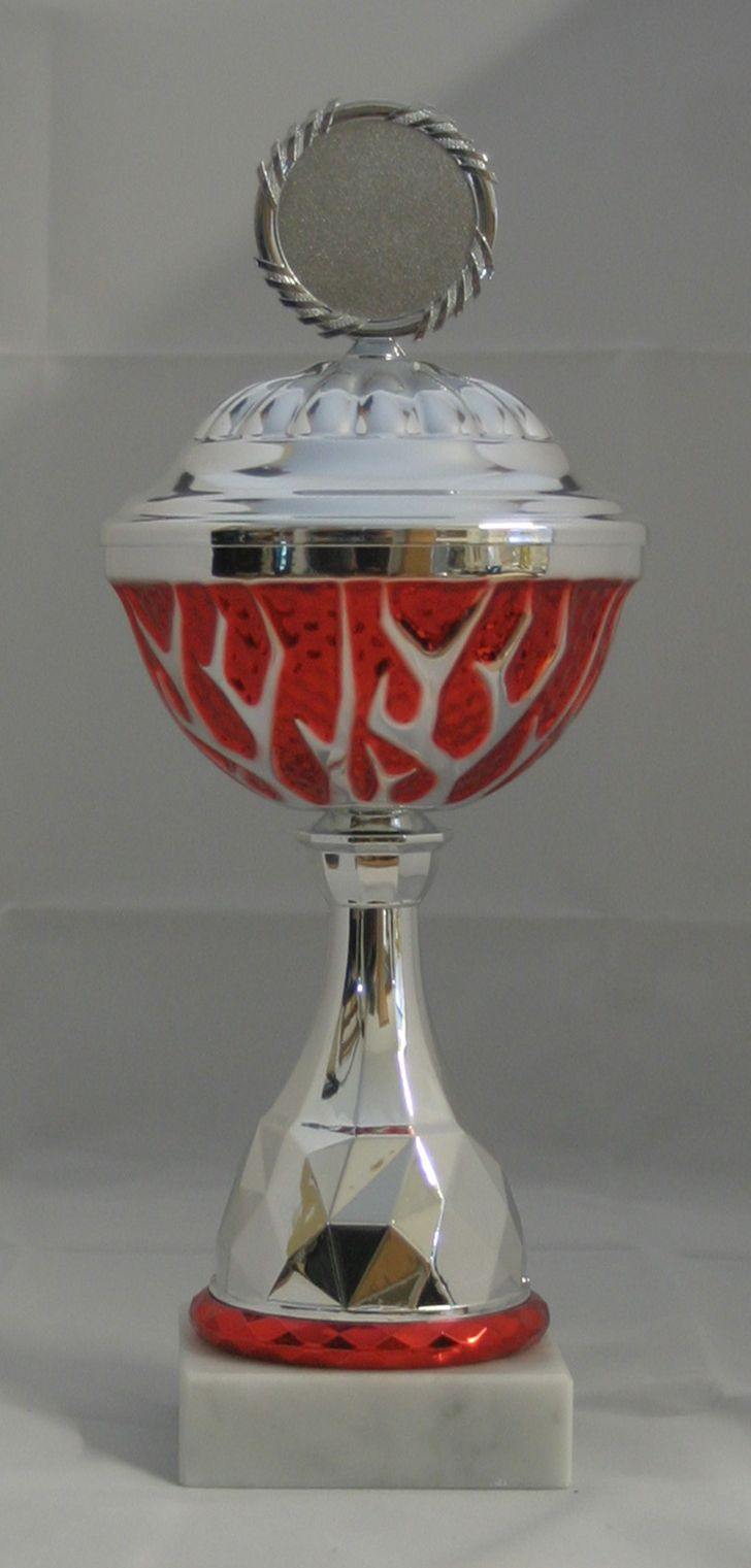Pokal silber/rot